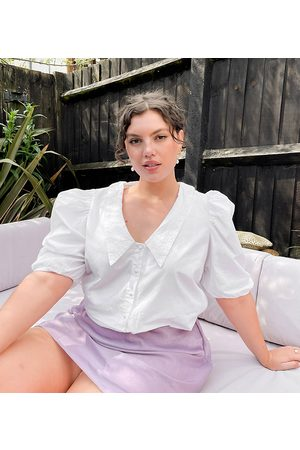 Simply Be Broderie collared blouse in