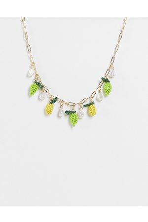 ASOS DESIGN Women Necklaces - Necklace with beaded fruits and faux pearl in tone