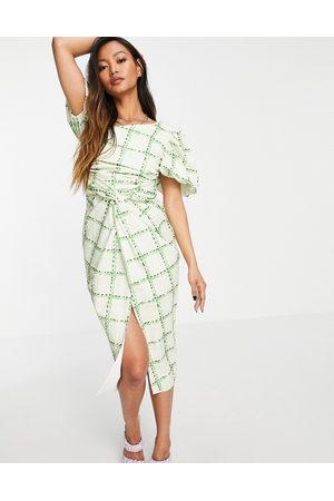 ASOS Asymmetric puff sleeve knot tuck midi dress in check print-Multi