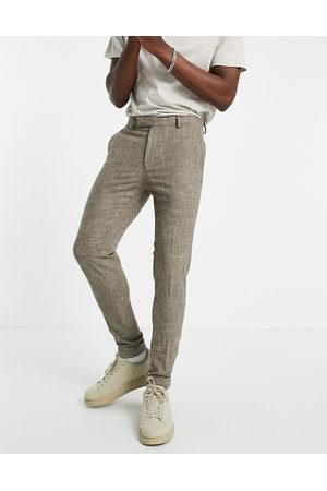 ASOS DESIGN Super skinny smart trouser in stone cross hatch-Neutral