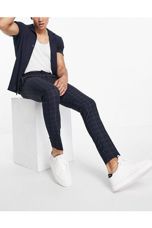 New Look Skinny smart trousers in navy check