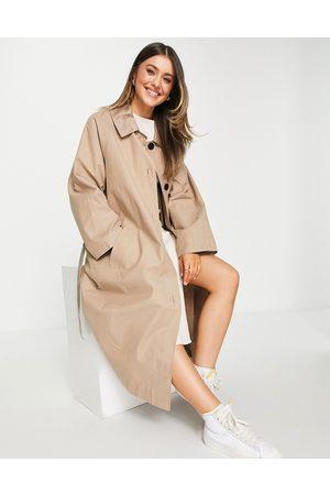 ASOS DESIGN Sateen detail boyfriend trench coat in mocha-Neutral