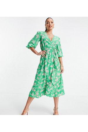 New Look Tall Floral wrap midi dress in pattern