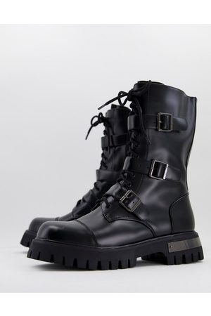 Koi Footwear KOI vegan chunky lace up boots with strap detail in