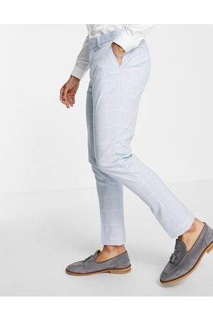 ASOS DESIGN Skinny suit trousers with window pane check in pale