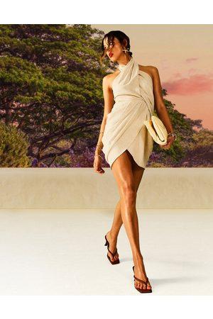 ASOS Drape detail linen halter mini dress