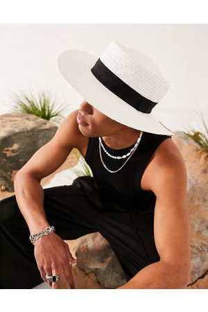 ASOS Wide brim pork pie straw hat in with black band and size adjuster