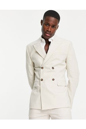 ASOS DESIGN Skinny double breasted suit jacket in stone-Neutral