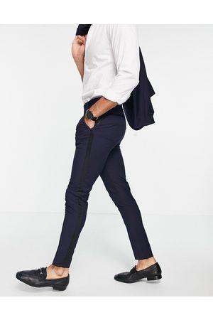 ASOS DESIGN Skinny tuxedo in navy suit trousers