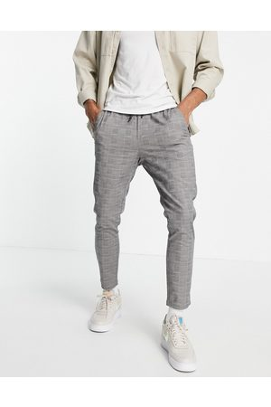 Only & Sons Check trousers with drawstring waist in