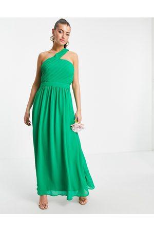 VILA Bridesmaid maxi dress with asymmetric one shoulder in green