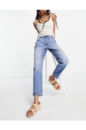 River Island Blair stretch denim high rise straight cut jeans in mid auth
