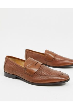 Dune Embossed loafers in tan leather