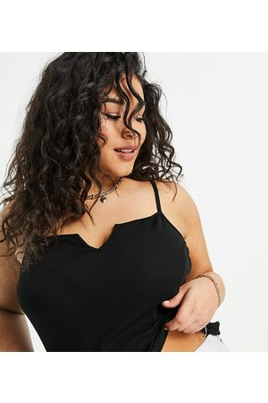 ASOS Curve ASOS DESIGN Curve crop cami with notch detail in rib in