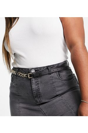 ASOS Curve ASOS DESIGN Curve waist and hip chain detail skinny belt in