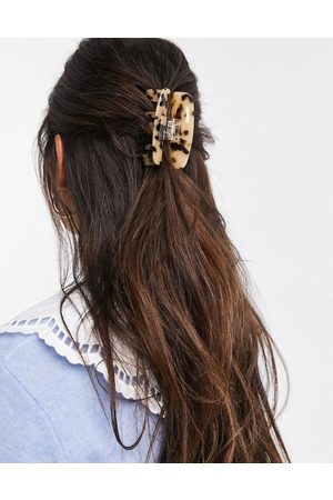 ASOS Rectangle hair clip claw in milky tort