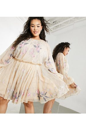 ASOS Curve floral beaded mesh dress with balloon sleeve