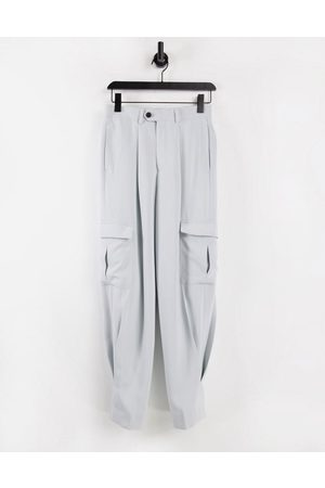 ASOS High waist slim cargo smart trouser in crepe