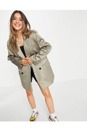 ASOS DESIGN Satin grandad coat in olive