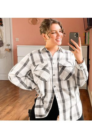New Look Plus New Look Curve check shirt in black