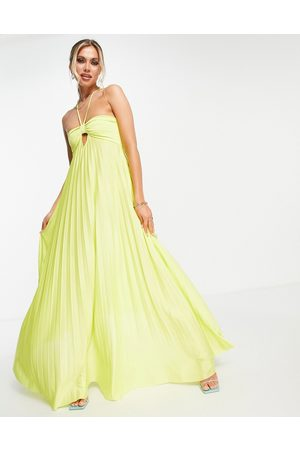 ASOS DESIGN Strappy halter twisted pleated maxi dress in lime