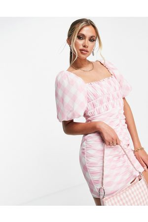 ASOS DESIGN Puff sleeve ruched mesh bodycon mini dress in pink gingham print-Multi