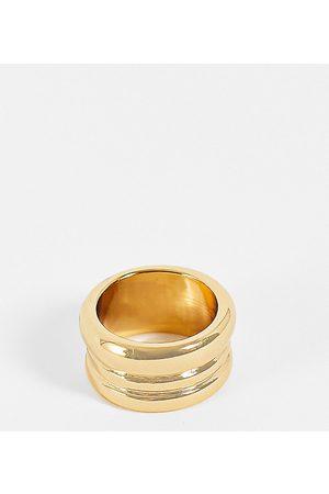 ASOS DESIGN 14k plated ring in triple row design