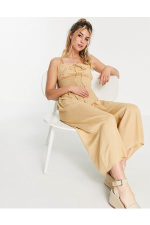 ASOS Tie front shirred waist culotte jumpsuit in sand