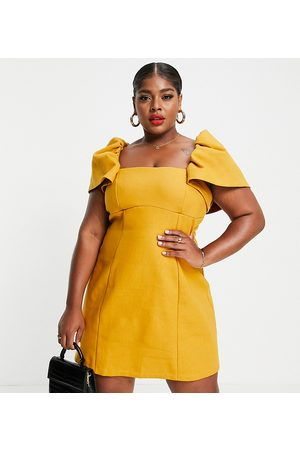 ASOS Curve ASOS DESIGN Curve square neck bonded linen ruched sleeve mini dress in mustard-Neutral