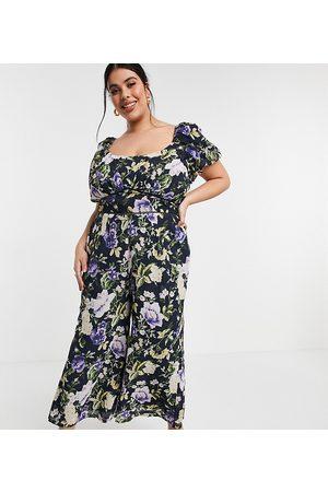 Hope & Ivy Plus Puff sleeve wide leg jumpsuit in navy based floral