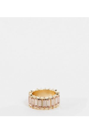 ASOS Curve Women Rings - ASOS DESIGN Curve ring with pink baguette stones in tone