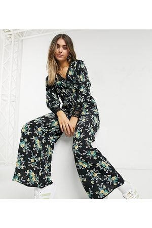 Reclaimed Vintage Inspired jumpsuit with lace panel detail in floral print