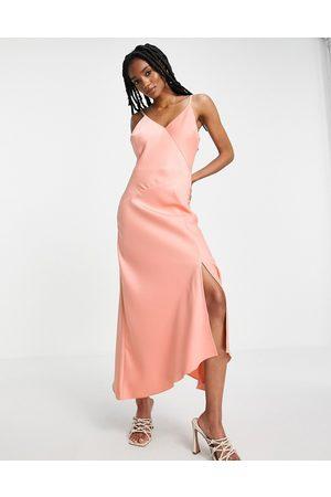River Island Asymmetric satin midi slip dress in pink