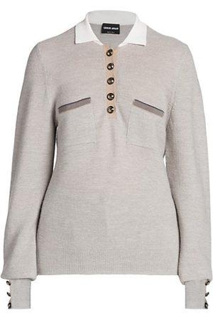 Armani Women Polo Shirts - Alpaca Blend Knit Polo