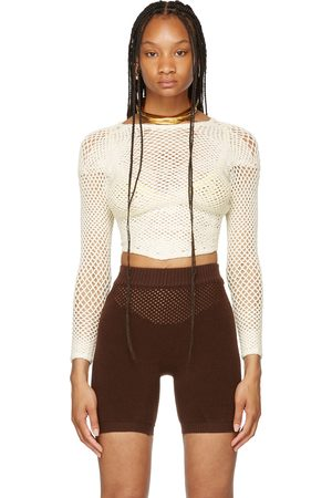 ISA BOULDER SSENSE Exclusive Off-White Crochet Scan Long Sleeve Sweater