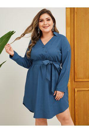 YOINS Women Midi Dresses - Plus Size Belt Design V-neck Dress