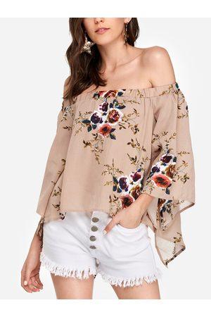 YOINS Random Floral Print Off Shoulder Slit Blouse in
