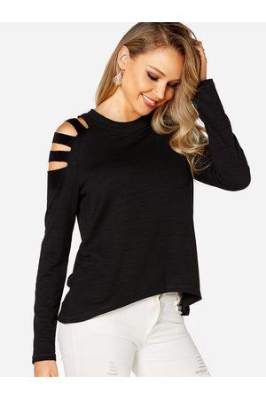 YOINS Cut out Design Cold Shoulder Long Sleeves T-shirt