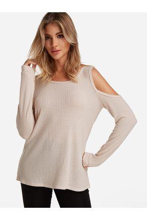 YOINS Beige Round Neck Cold Shoulder Long Sleeves T-shirt