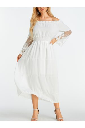 YOINS Lace Insert Off The Shoulder Flared Sleeves Dress
