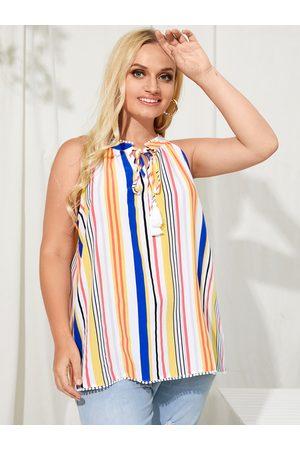 YOINS Plus Size Stand Collar Striped Tie-up Design Sleeveless Cami