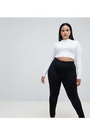 ASOS Curve ASOS DESIGN Curve high waisted stretch trousers in