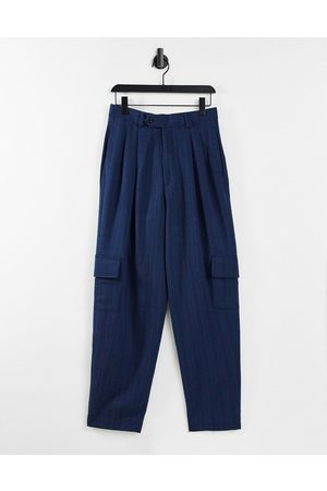 ASOS DESIGN High waist slim cargo smart trouser in navy stripe
