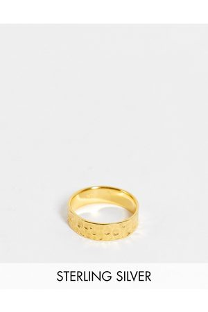 ASOS Sterling silver band ring with hammered texture in 14k plate
