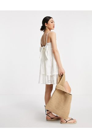 ASOS Bandeau double layer tie back mini sundress in broderie in