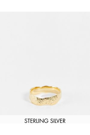 ASOS DESIGN Sterling silver ring with molten effect in 14k plate