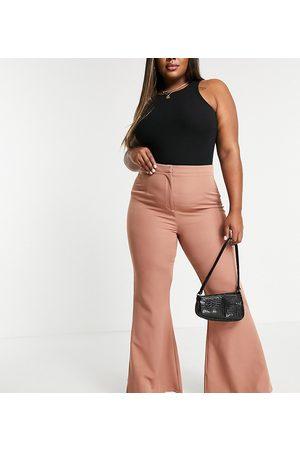 Koco & K Plus Wide leg flare trouser in tan