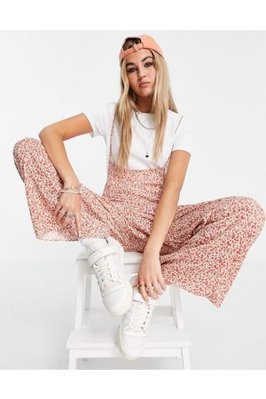 ASOS DESIGN Skinny strap dungaree in ditsy floral with t-shirt-Multi