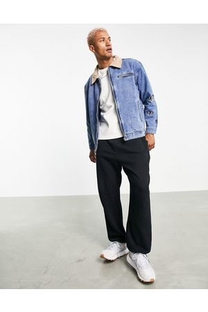 Mennace Worker denim jacket co-ord in with contrast suede collar and butterfly embroidery