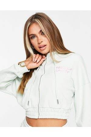The O Dolls Collection ODolls Collection sportswear motif ruched side cropped hoodie in mint